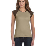 Ladies' Stretch Rib Cap-Sleeve Contrast Raglan T-Shirt